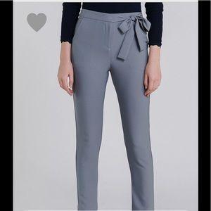 Pants - Tie waist slim fit crepe pants